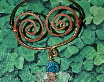 Copperwork Celtic  Butterfly Bracelet with Teal Art Glass