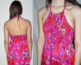 High Tide ... Vintage 60s maxi / halter sundress sun dress / neon psychedelic / mod beach resort / festival hippie .. XXS XS