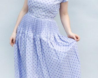 Vintage 1950's Dress - Wisteria - Lilac Purple Cotton Polka Dot Fifties Day Dress