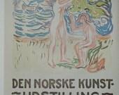 Vintage Poster, The Norwegian Art Exhibition, Do Your Duty Work, Antique Print, Bevis, 1972