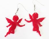 Cupid Earrings  , Red Angel Earrings , Angel Jewelry , valentine earrings , Gift For Her , Romantic Jewelry , Romantic Gift , Red Jewelry