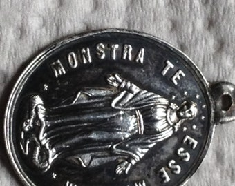 """Vintage Mother Mary Sterling Silver Religious Medal on 18"""" sterling silver rolo chain"""