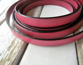 10mm Flat Spanish Leather in Gorgeous Fuchsia / HOT PINK - 1 FOOT (12 Inches) - Regaliz European Leather