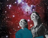 Outer Space Art, Stars and Planets, Surreal Art, Star Gazers, Retro Art Print, Colorful Art, Mixed Media Collage
