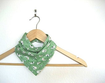 Green Kitten Print Bandana Bib for Baby