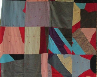 Gorgeous CRAZY STRIP Antique Vintage Quilt- Wools, Heavy Cottons