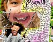 Birthday Card, Inspirational Card,  NEVER GROW UP  Mixed Media, Greeting Card for the Young at Heart  by Seattle Artist  Mary Klump