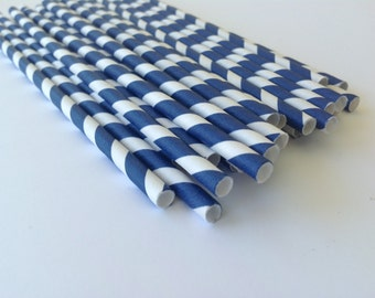 NEW to Serendipity Party Shop-Dark Blue Striped Paper Straws