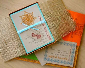 "Wedding Invitations, Boxed Burlap Wedding Invitations - ""Henna Love Box Invite"" Sample - NEW LOWER PRICE!"