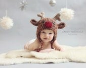 Baby Reindeer Hat with Ear Flaps--Crocheted Rudolf--Perfect Newborn Photo Prop - HatAndColdCrochet