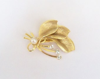 Vintage Brooch Gold Tone Bridal Sash Jewelry Jewellery Wedding Gift Idea