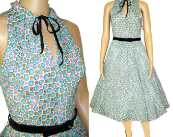 Vintage 1950s Dress  .  NOS  . Tags Attached .  Couture Mad Man New Look Rockabilly Garden Party Designer Cocktail Prom Femme Fatale
