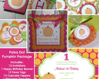 Polka Dot Pumpkin Birthday Package (Hot Pink, Orange & Green) - Invitation, birthday banner and More - The Party Paper Fairy (PDPU-1)