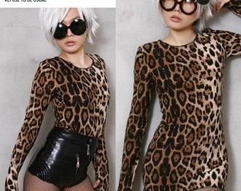 RTBU skinnie slim fit leopard Cheeta Animtal Print shirt Top Mitten thumb hole