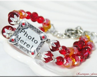 Photo bracelet, Personalized, Red Crystal Bracelet, Photo Charm Bracelet, Siam & Fireopal Swarovski Crystals, czech beads, Sterling Silver