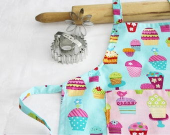 Sprinkles Cupcakes Child Apron - turquoise with pink pocket