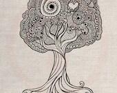 Custom Clip Art Design Transfer Digital File Vintage Download DIY Scrapbook Shabby Chic Pillow Love Doodle Tree Heart Valentine No. 0633