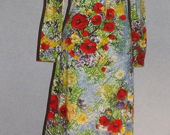 Vintage 60s Long Dress Lounge Wear Funky Hippie Dress