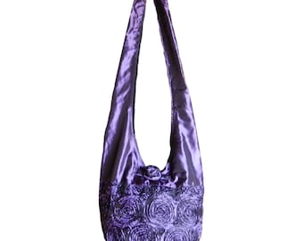 Silk Purse Bag Hippie Hobo Sling Crossbody Messenger Book Bag in Purple - Floral Rosette Embroidered