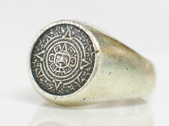 Sterling Mens Ring Mayan Aztec Calendar Ring Taxco Made Size