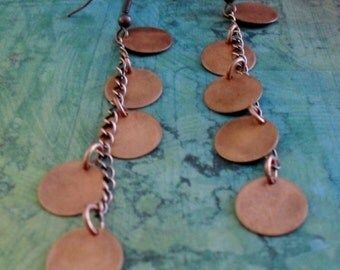 Long Cascading Antiqued COPPER DROP EARRINGS // Unique // Gift for Her // Gift Boxed