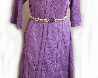 Purple long dress  made to order (Custom) knitted elegant chic bridal wedding