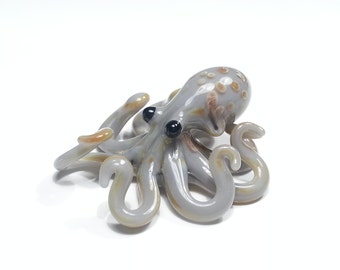 Octopus Pendant - Gray and Caramel Spotted