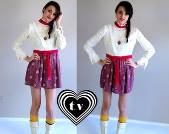 vtg 60s cream VICTORIAN LACE berry paisley print Mini DRESS xs/s dolly boho mod