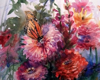 Zinnias and Butterfly , Original Watercolor