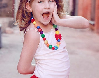 The Rainbow Brite - Bright Rainbow Flower Headband with Diamond Center - Circus, Sesame Street, Rainbow Birthday Party