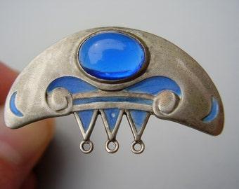 German Art Nouveau Jugendstil Secessionist Arts Crafts H Levinger Pforzheim Plique a Jour Enamel Silver Brooch Pin Silber Fensteremail