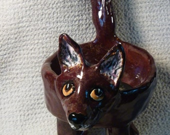 Folk Art Fox bowl handmade in USA  from a lump of clay, glitter glazed and fired in my kiln sold by Artist