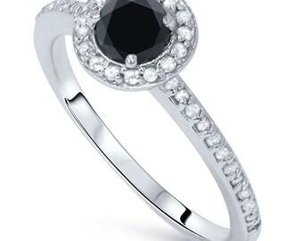 Black & White Diamond Vintage Style Hand Engraved Heirloom Engagement Ring .60CT (sizes 4-9)