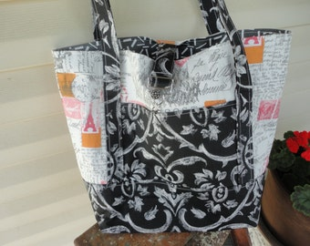 Purse, bag, tote or Diaper Bag French print in Black, bright pink, orange, and white , purse, bag, tote, diaper bag