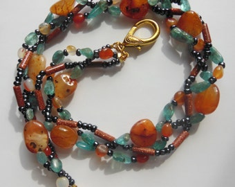 Fire and Water handmade  Statement necklace 425