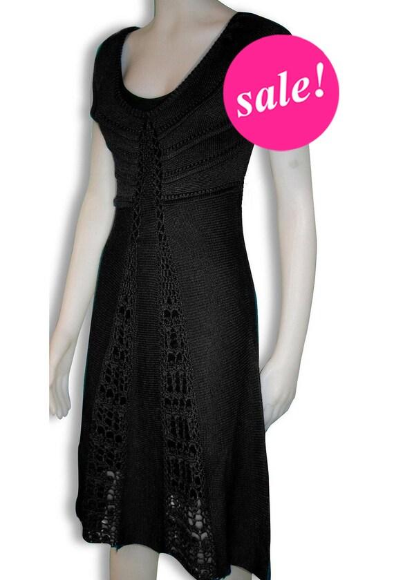 SALE - The most  ELEGANT black crochet dress,party dress, v-neck dress,knee length,black dress,Mad men dress, only S, on SALE