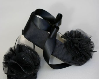 Black Satin Baby Shoes, Flower Girl Toddler Ballet Slipper, Wedding Ballet Flat, Little Girl Dance Shoe, bootie, bespoke, Baby Souls Couture