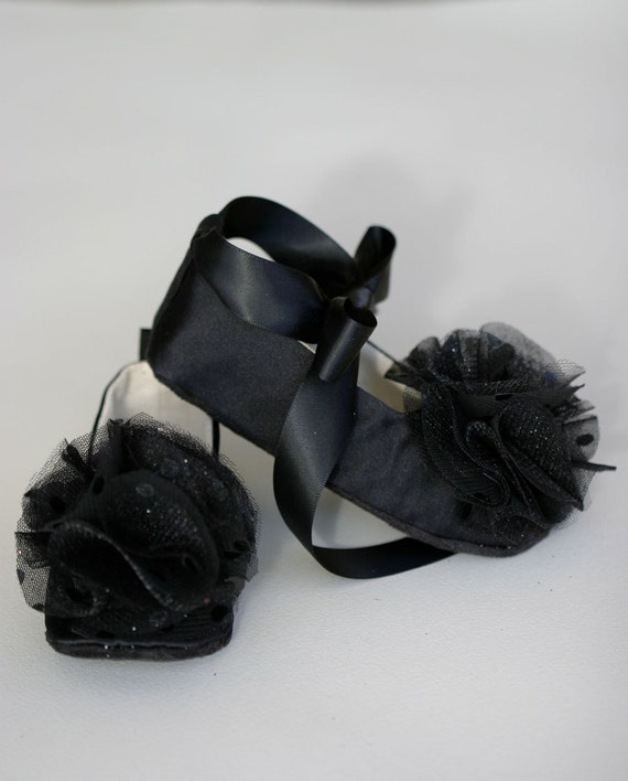 Black Satin Baby Shoes Flower Girl Toddler Ballet Slipper
