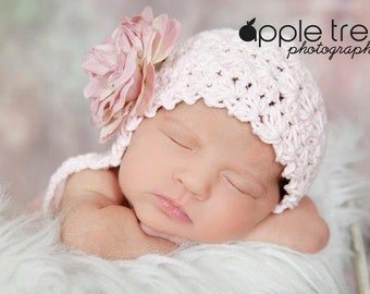 Crochet Pattern for Vintage Star Baby Bonnet Hat - 7 sizes, preemie/doll to child - Welcome to sell finished items