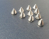 40 Small Silver Spike Beads - 8mm - Great For Studding Clothes and Shoes