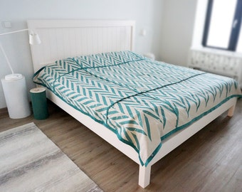 Printed bedspread Linen ZIGZAG printed coverlet Queen King Double Twin of full size bedding More colors available