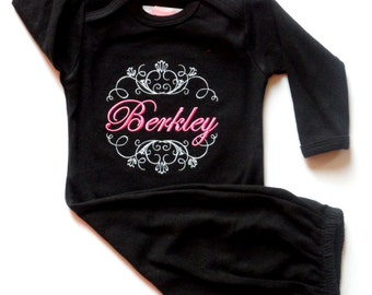 Personalized Baby Girl Clothes Newborn Girl Take Home Outfit Monogram Baby Layette Gown and Flower Headband New Baby Gift Set