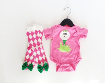Girl Golf One PIece Little Caddy with argyle baby leg warmers