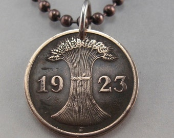 COIN JEWELRY - GERMANY necklace - antique coin jewelry -  German pfennig -  Deutschland Charm Pendant - reich -  wheat sheath 1924 No.001305