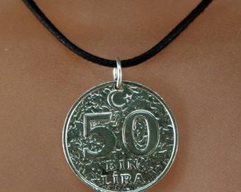 Turkey Jewelry. Turkey necklace  . Turkey charm. middle east coin pendant.  50 bin lira.  50. mens necklace. mens jewelry. 50th  No.00896