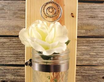 wood hanging, wall sconce mason jar candle, vase, cedar, pendant, bling,