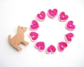 Crochet Heart Appliques, Neon Pink, Vintage Pale Pink & Ivory , Set of 10, Valentines Day Heart Love Motif