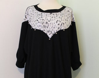 Black with Lace Batwing Blouse