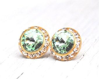 Crisp Celery Green Pastel Gold Earrings Rhinestone Earrings Vintage Swarovski Crystal Chrysolite Studs Sugar Sparklers Mashugana