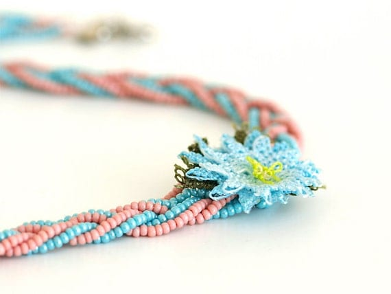 Bohemian Jewelry/ Braided Necklace/ Crochet Lace Necklace/ Lace Flower Oya/ Powder Pink Mint/ Cottage Style/ Fiber Art